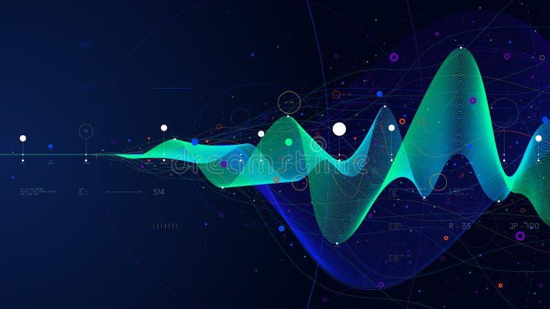 Duża dane strumienia analityka futurystyczna infographic biznesowa prezentacja, wektorowa ilustracja royalty ilustracja