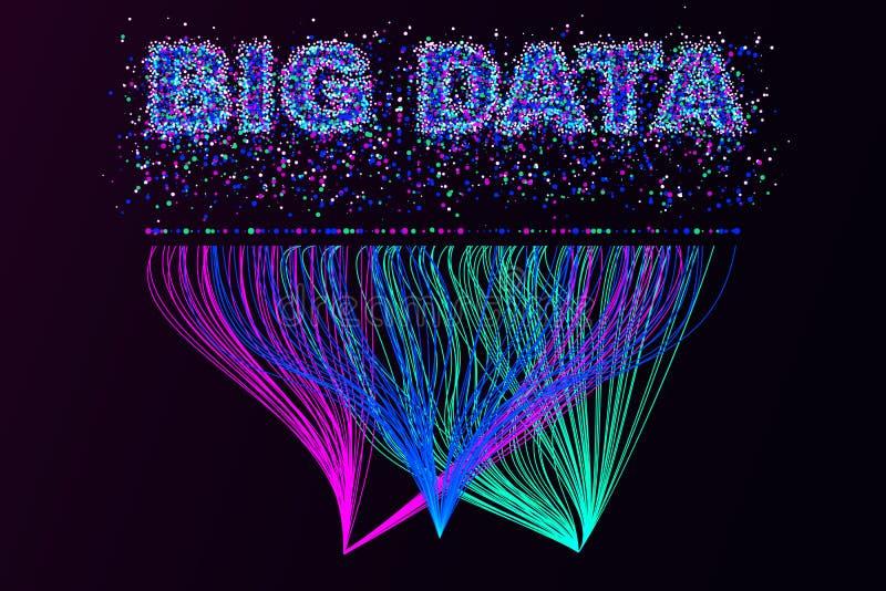 Duża dane unaocznienia sieć Futurystyczny infographics, 3d fala, wirtualny przepływ, cyfrowy dźwięk, muzyka Wektorowi kolorowi du ilustracja wektor