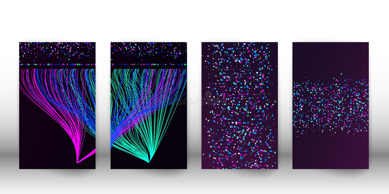 Duża dane unaocznienia sieć Zakrywa set futurystyczny infographics, 3d fala, wirtualny przepływ, cyfrowy dźwięk, muzyka Wektor EP ilustracji