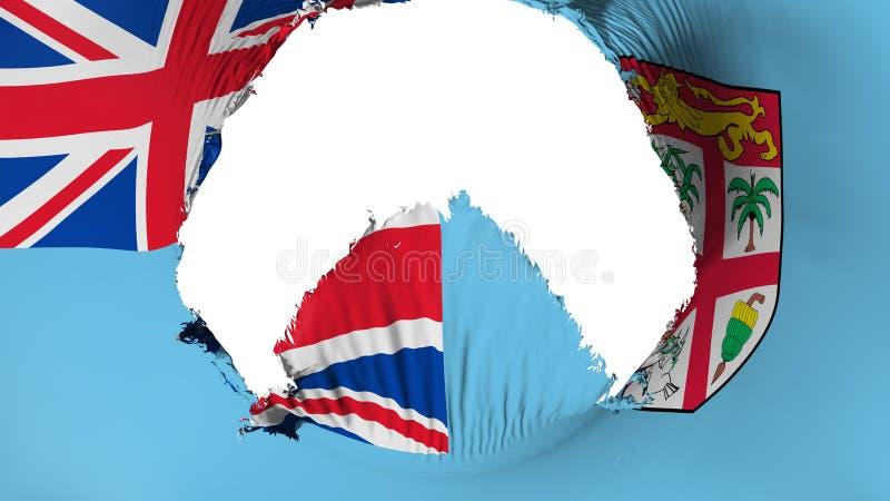 Duża dziura w Fiji fladze ilustracji