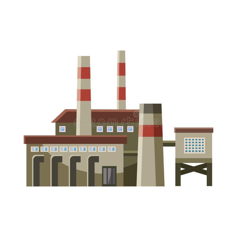 Duża fabryka z drymbami ikony, kreskówka styl