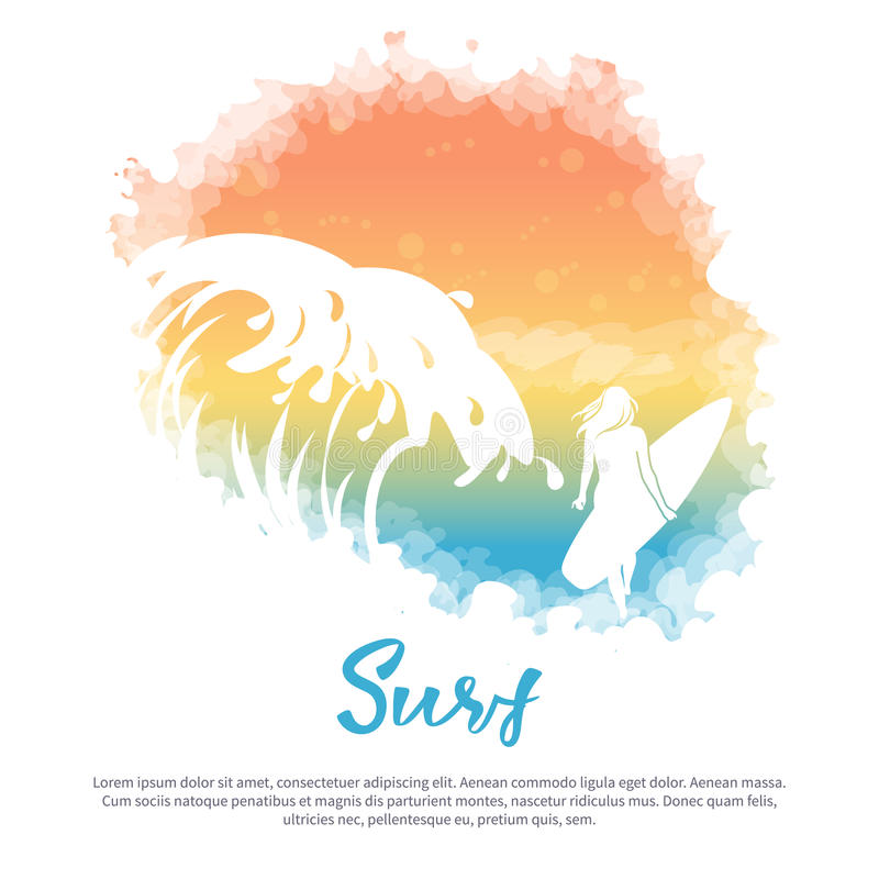 Duża fala, dziewczyna z surfboard ilustracji