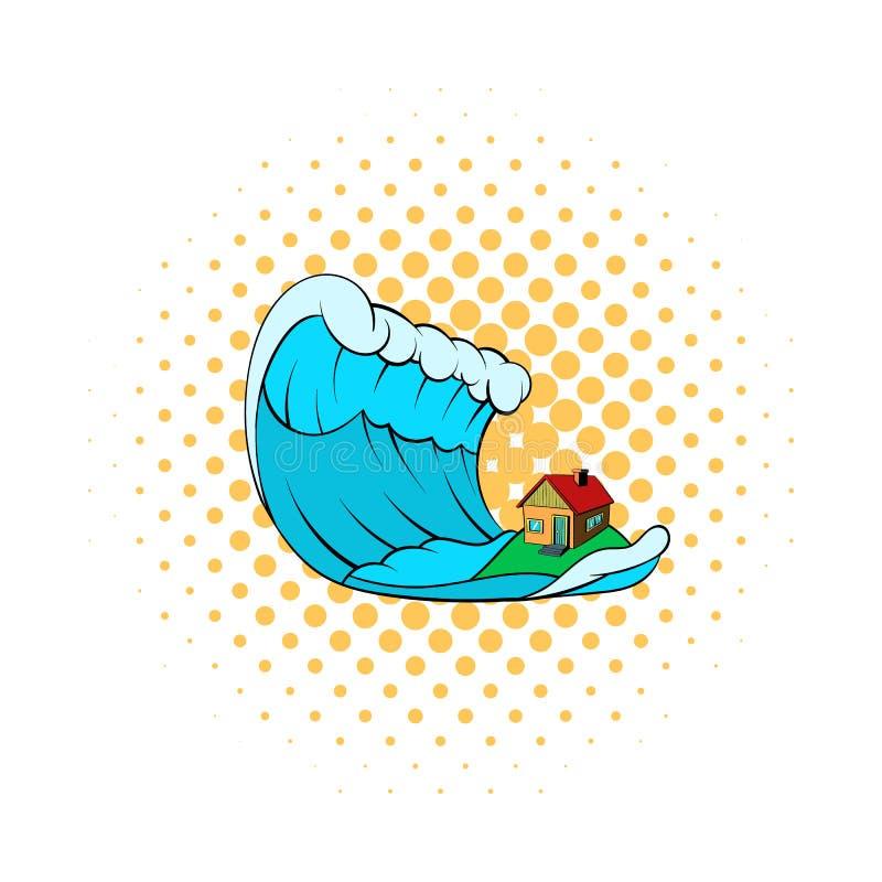 Duża fala tsunami nad domową ikoną royalty ilustracja