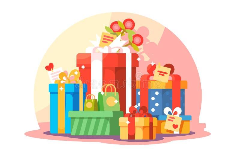 Duża góra jaskrawi kolorowi zawijający prezentów pudełka royalty ilustracja