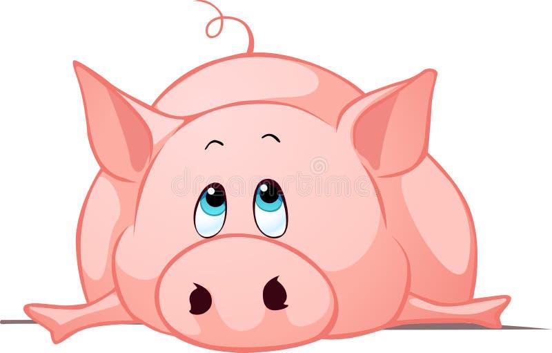 Duża gruba świnia kłaść puszek - wektorowa ilustracja ilustracja wektor