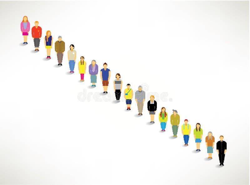 Duża grupa Stać w kolejce Up Wpólnie ilustracja wektor