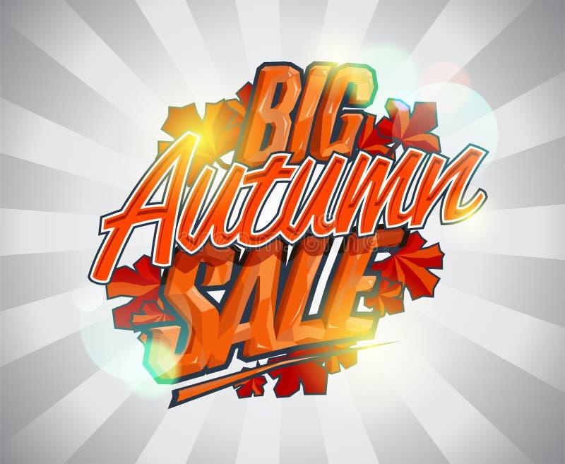 Duża jesieni sprzedaż, reklamowy wektorowy kaligraficzny sztandaru projekta pojęcie ilustracja wektor