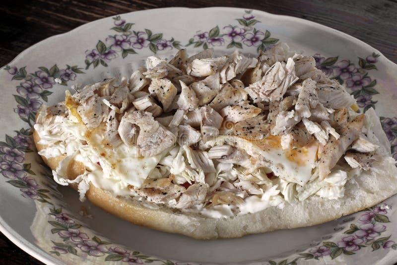 Duża kanapka z mięsem na śniadanie zdjęcie stock