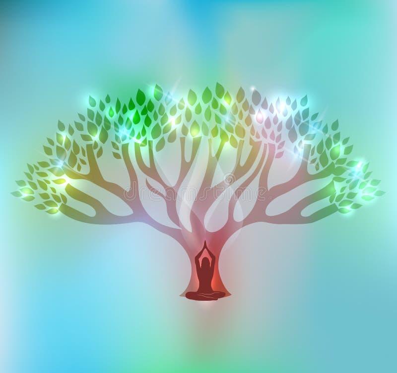 Duża kobieta i drzewo royalty ilustracja