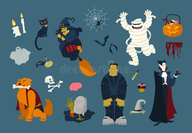Duża kolekcja śmieszni i straszni Halloweenowi postać z kreskówki - żywy trup, mamusia, duch, czarownicy latanie na miotle, czarn royalty ilustracja
