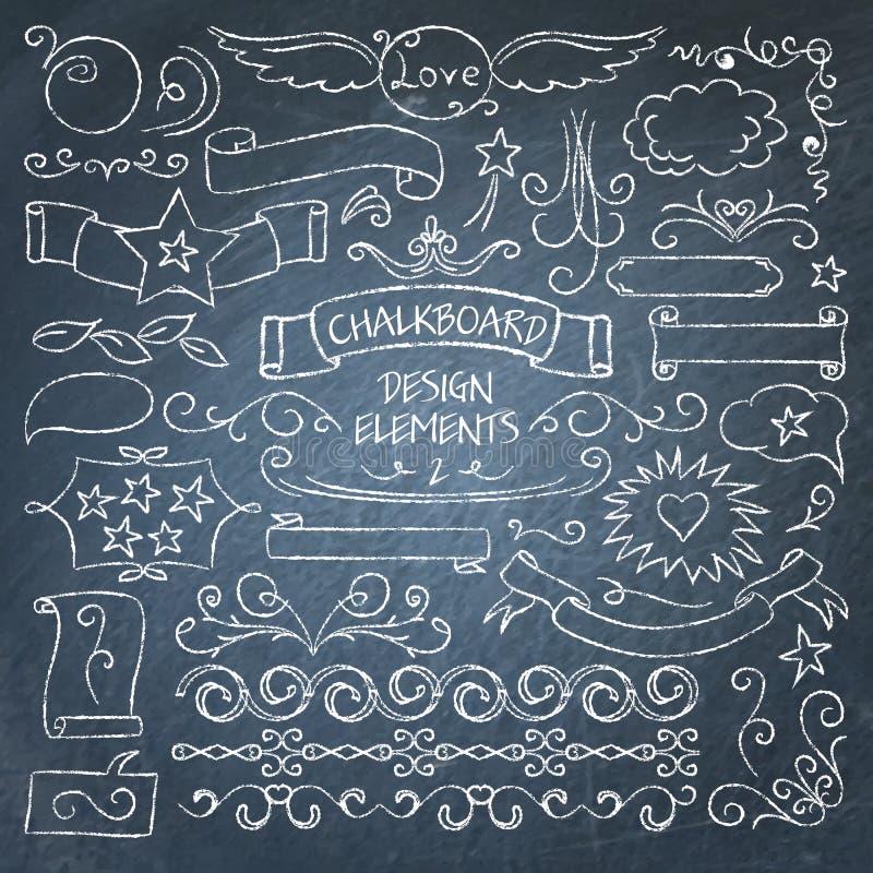 Duża kolekcja chalkboard elementy ilustracja wektor
