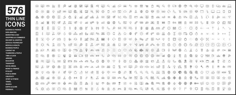 Duża kolekcja ikony 576 cienkich linii Ikony sieci Web Biznes, finanse, seo, zakupy, logistyka, medycyna, zdrowie, ludzie, praca  ilustracji