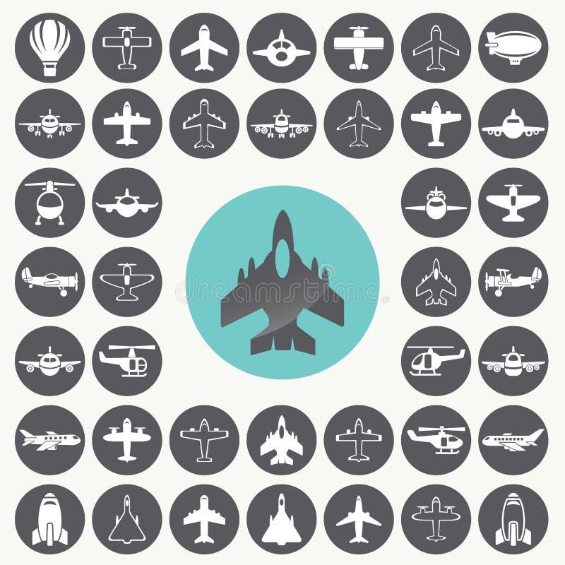 Duża kolekcja różne samolotowe ikony ustawiać ilustracja wektor