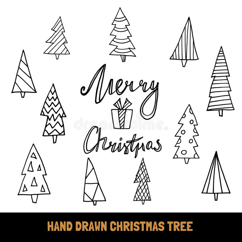 Duża kolekcja ręki rysujący choinki, wycena Wesoło boże narodzenia dla i, ilustracja wektor