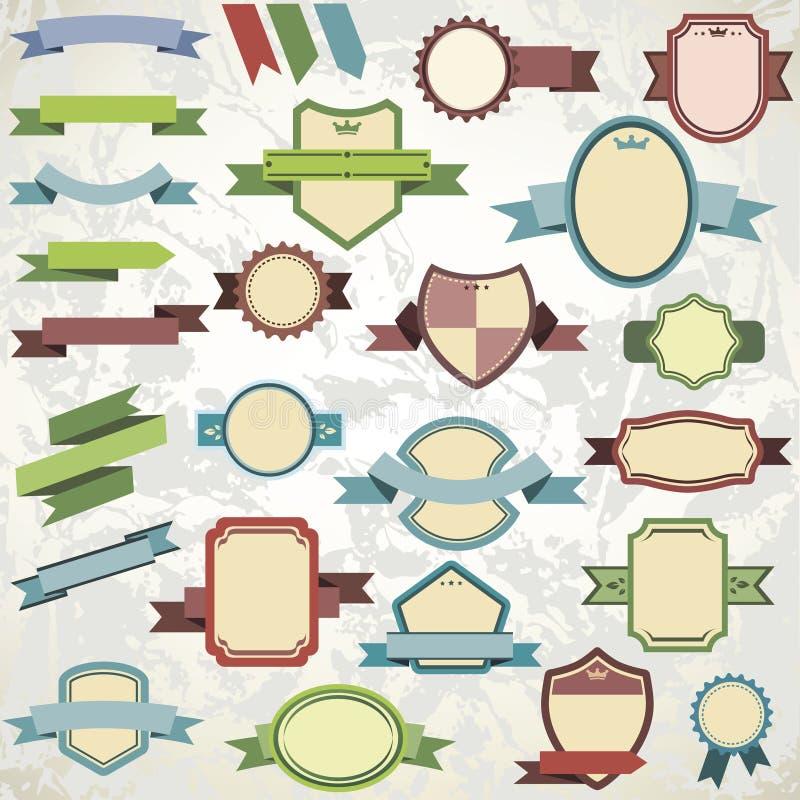 Duża kolekcja roczników emblematy ilustracja wektor