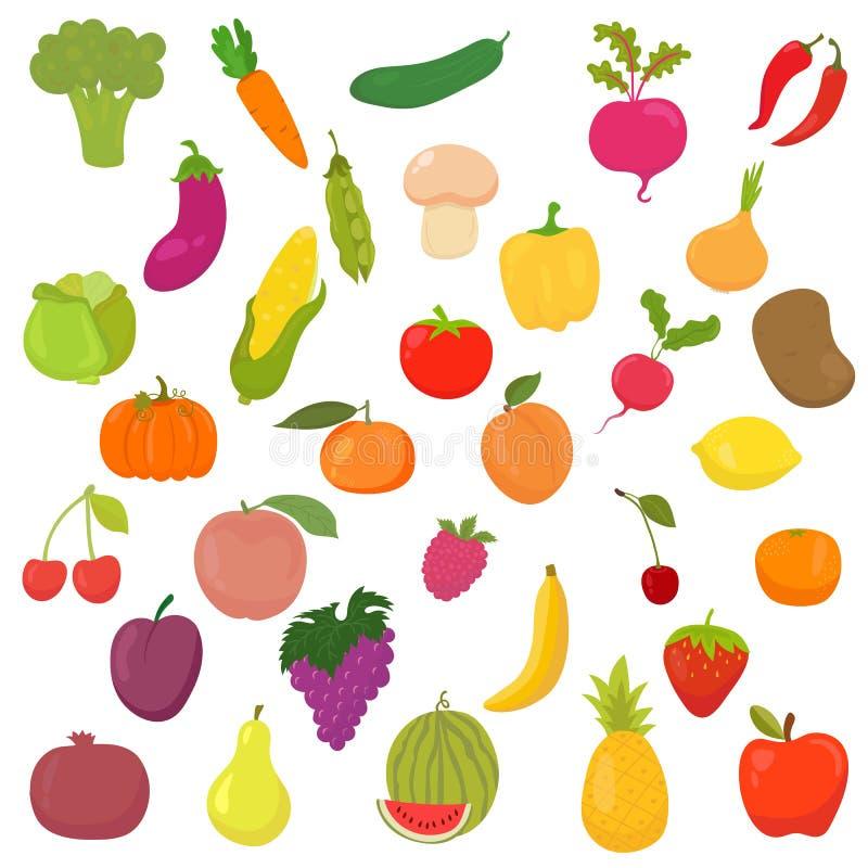 Duża kolekcja warzywa i owoc zdrowa żywność ilustracja wektor