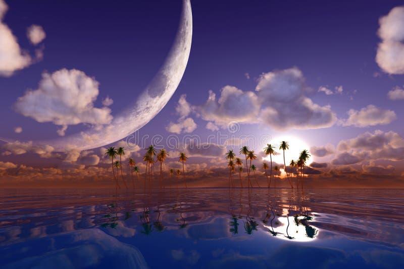 Duża księżyc w chmurach zdjęcie royalty free