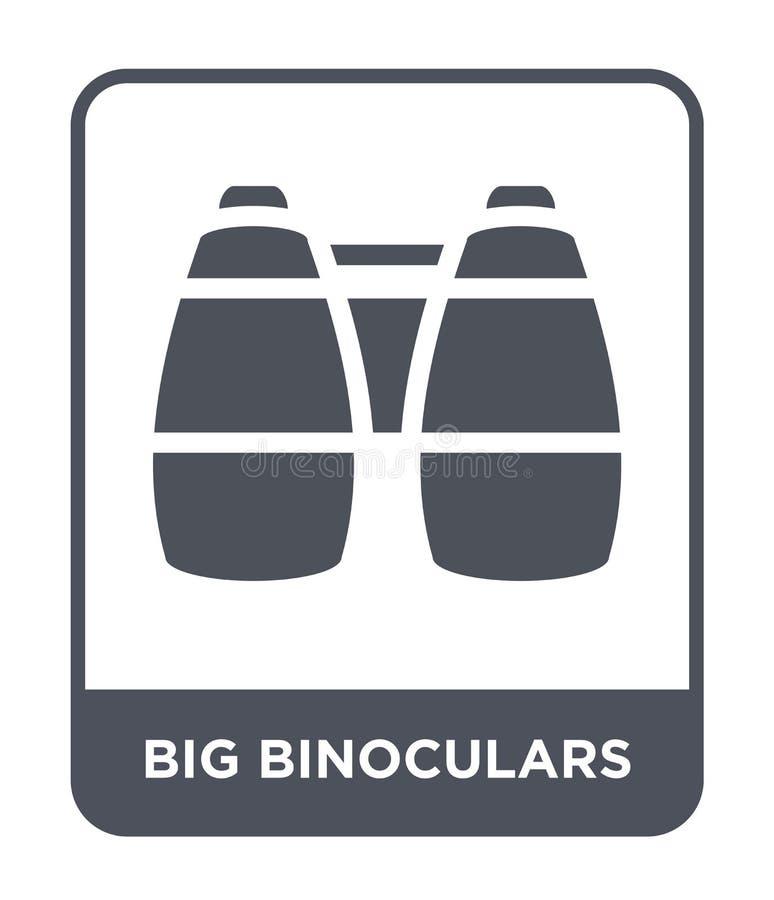 duża lornetki ikona w modnym projekta stylu Duża lornetki ikona odizolowywająca na białym tle dużych lornetek wektorowa ikona pro ilustracja wektor