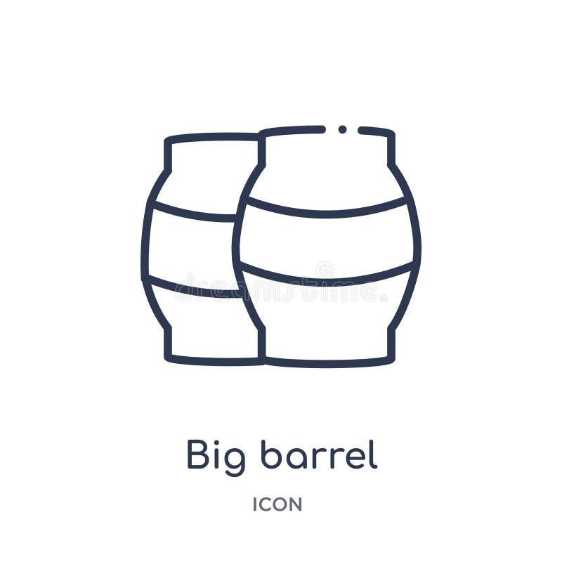Duża lufowa ikona od nautycznej kontur kolekcji Cienieje kreskową dużą lufową ikonę odizolowywającą na białym tle ilustracja wektor