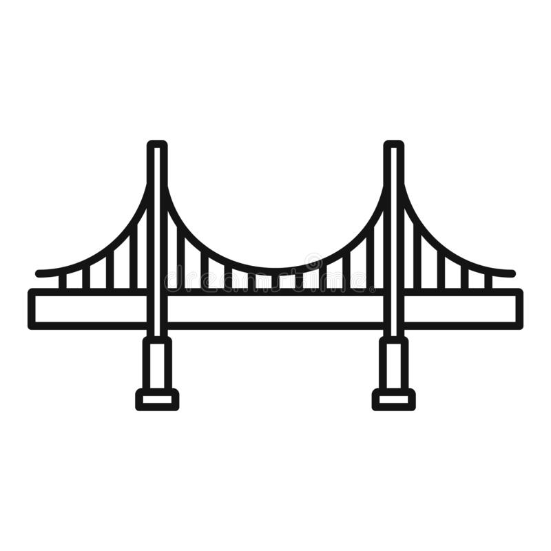Duża metalu mostu ikona, konturu styl ilustracja wektor