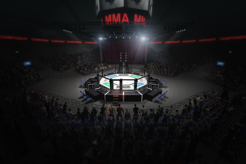 Duża mma walcząca arena z udziałami fan 3d rendering ilustracja wektor