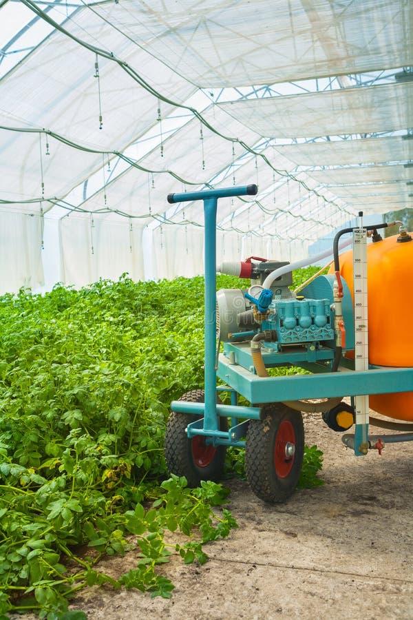 Duża pestycyd natryskownica w szklarni zakończeniu w górę widoku obrazy royalty free