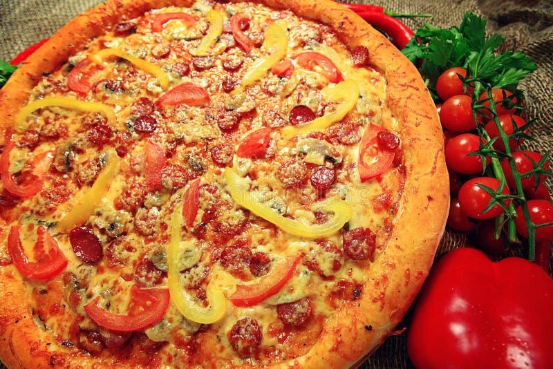 Duża pizzy tekstura zdjęcie royalty free