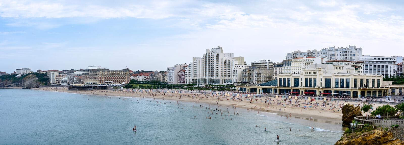 Duża plaża Biarritz fotografia stock