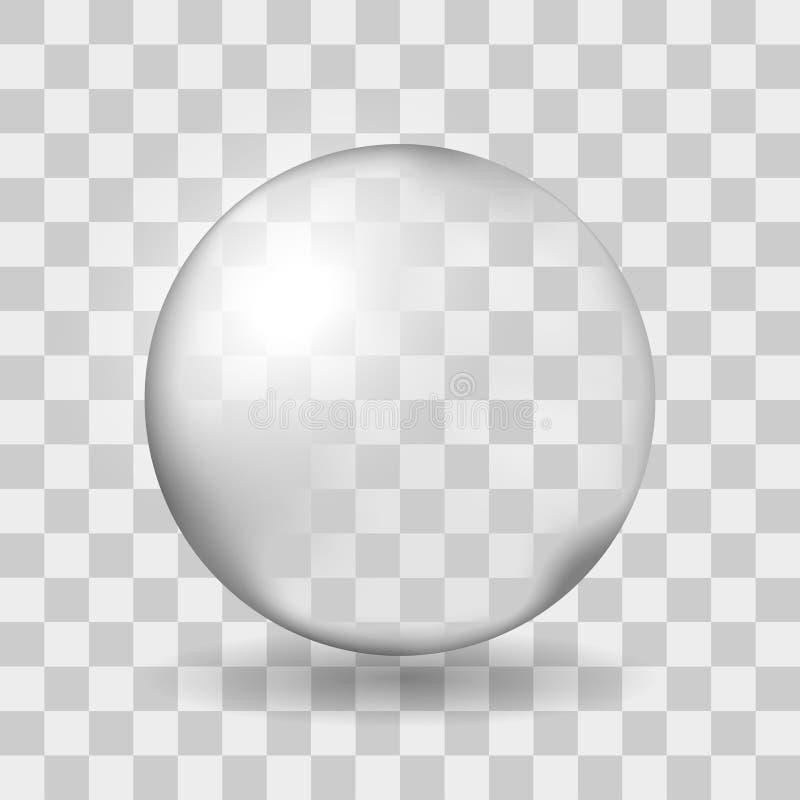 Duża przejrzysta szklana sfera z świeceniami i cieniem Przezroczystość tylko w wektorowej kartotece royalty ilustracja