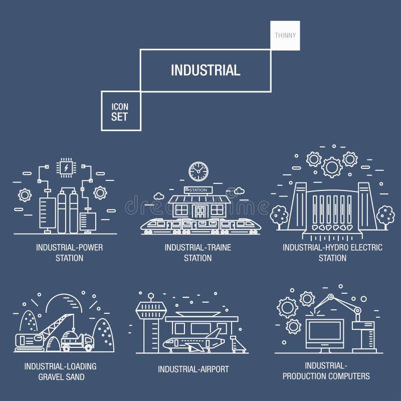 Duża przemysłowa ikona ustawiająca z projektów elementami gazuje, oliwka, czysta, ilustracja wektor