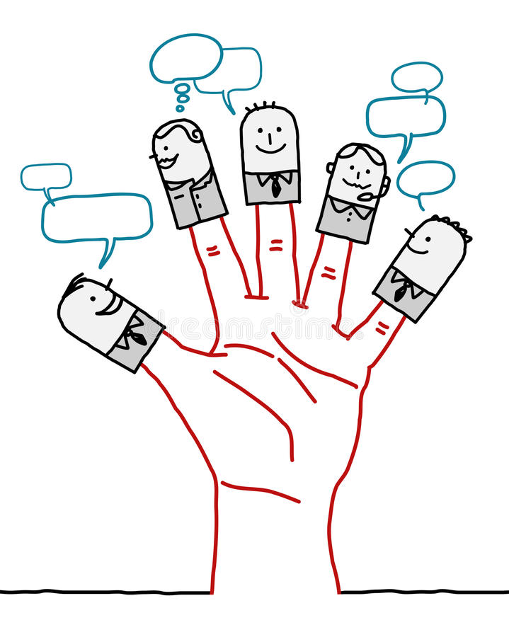 Duża ręka i postać z kreskówki - ogólnospołeczna biznesowa sieć royalty ilustracja