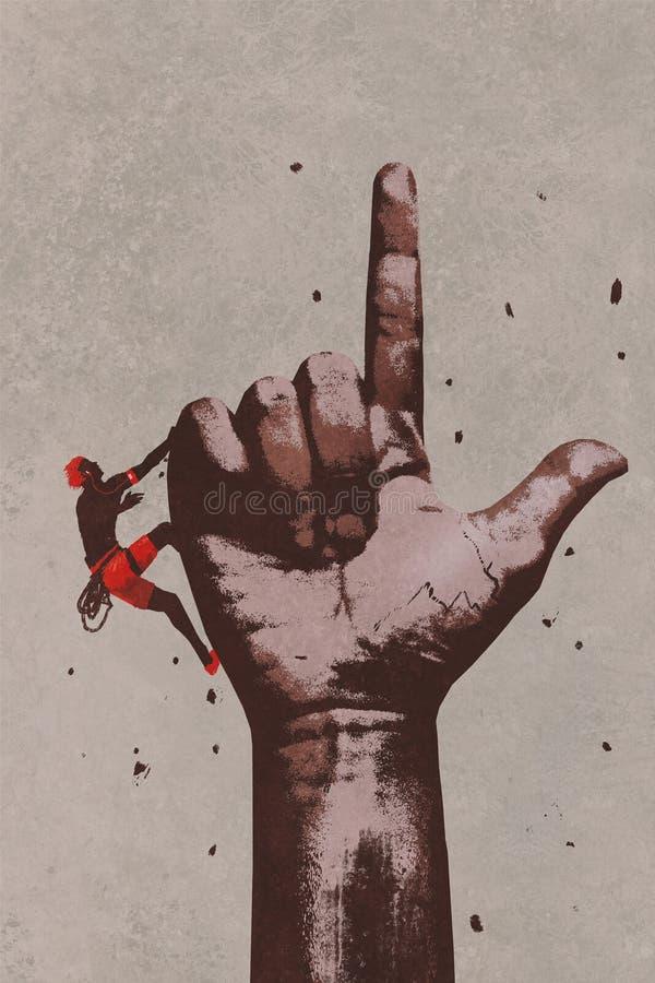 Duża ręka w palcu wskazuje w górę znaka z arywistą ilustracji