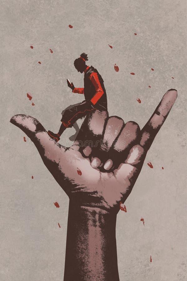 Duża ręka w wezwaniu JA szyldowy z mężczyzna używa telefon komórkowego royalty ilustracja