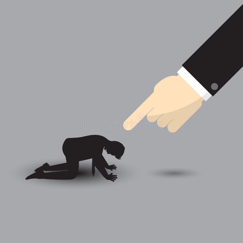 Duża ręka Wskazuje Przy sylwetki klęczenia biznesmenem ilustracja wektor