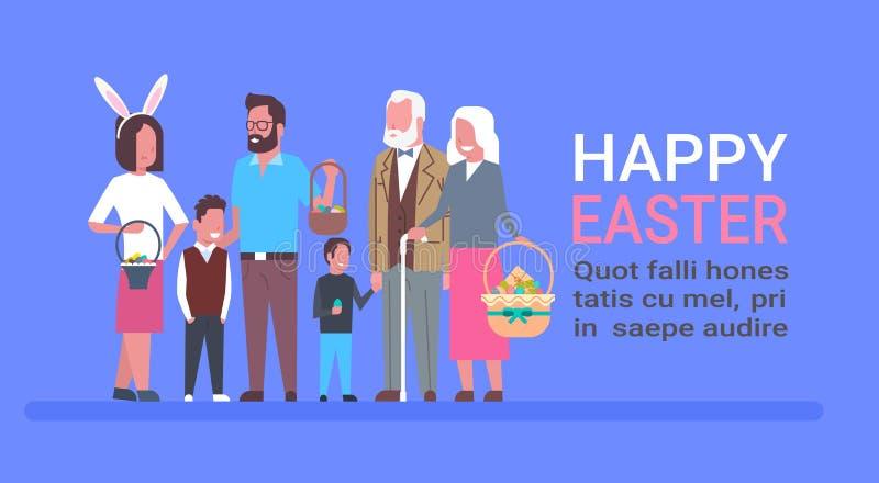 Duża rodzina Świętuje Szczęśliwego Wielkanocnego szablonu plakat Z ludźmi Trzyma Koszykowymi Z jajkami I Jest ubranym królików uc ilustracja wektor