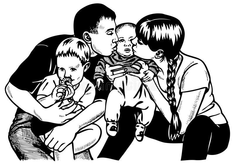 Duża rodzina ilustracja wektor