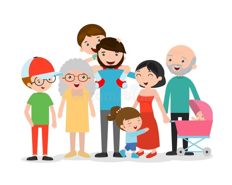 Duża rodzina Asia na białym tle, dziad, babcia, matka, ojciec, dziewczyna, chłopiec royalty ilustracja