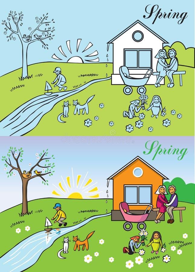 Duża rodzinna wiosny natura royalty ilustracja