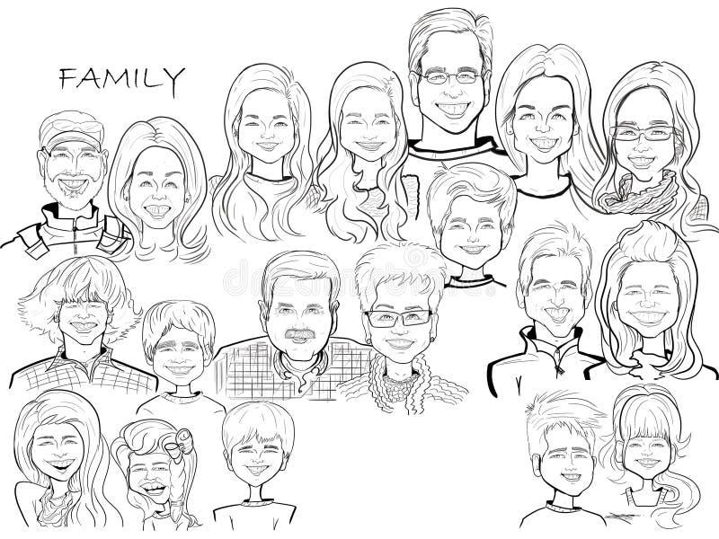 Duża Rodzinnego świętowania kreskówki karykatura ilustracja wektor