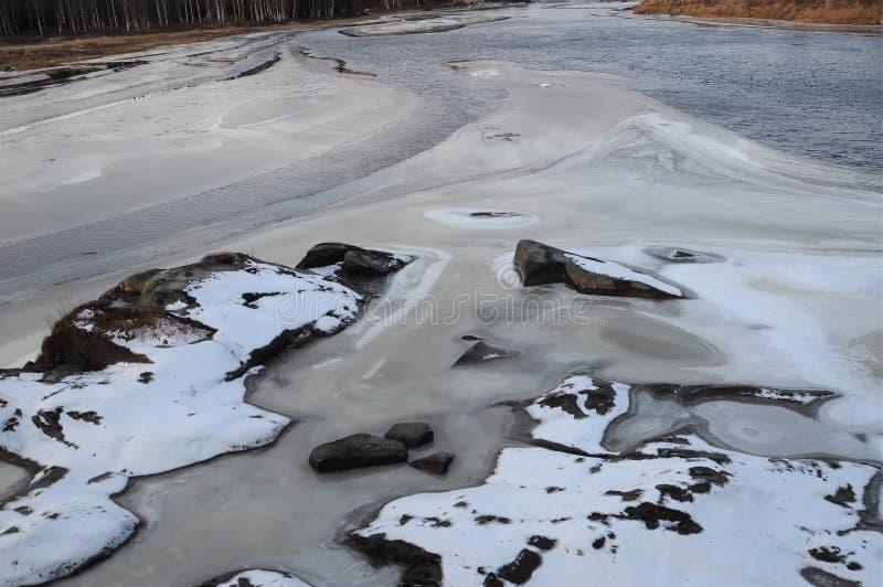 Duża siklawa Storforsen w zimie, obraz stock