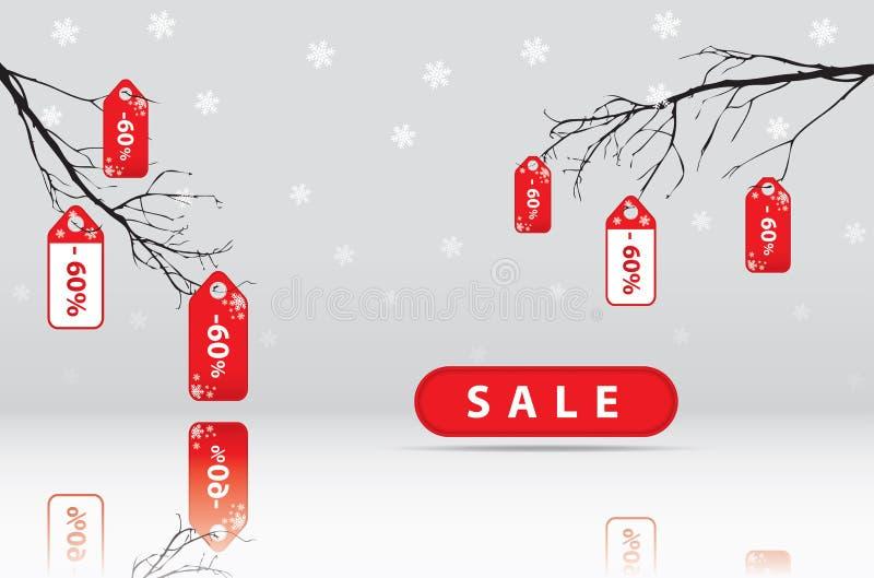 Duża sprzedaż, majcher i sztandary, promocyjny tło zdjęcia royalty free