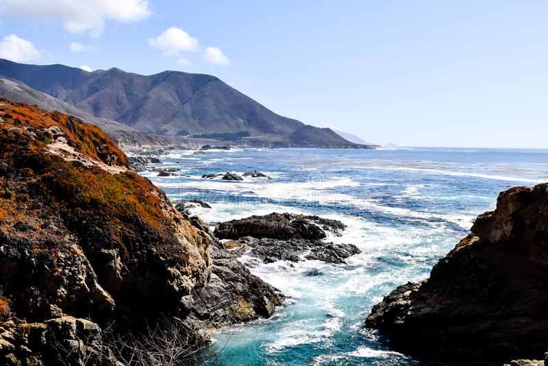 Duża Sura zatoka, droga 1, Kalifornia, usa obraz royalty free