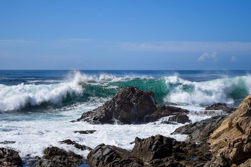 Duża Sura zatoka, widok na ocean, Kalifornia, usa obraz stock