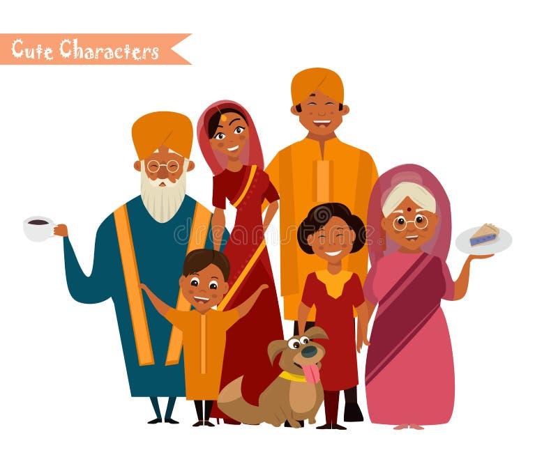 Duża szczęśliwa indyjska rodzina ilustracji
