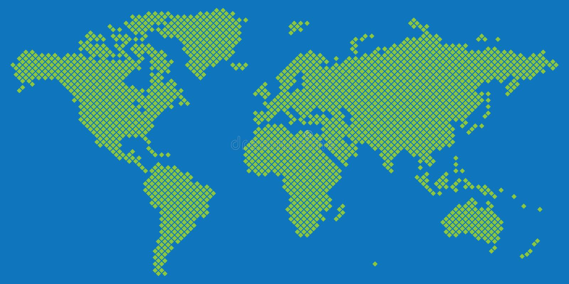 Duża tetragon światowej mapy wektoru zieleń na błękicie royalty ilustracja