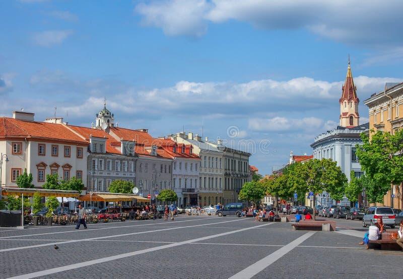 Duża ulica Vilnius zdjęcia royalty free