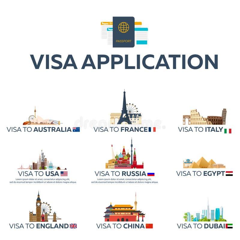 Duża ustalona wiza kraj Australia, Francja, Włochy, usa, Rosja, Egipt, Anglia, Chiny, Dubaj Dokument dla podróży Wektorowy mieszk ilustracji