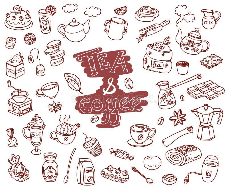 Duża wektorowa kolekcja doodle kawa i tae Wyposażenie i de ilustracja wektor