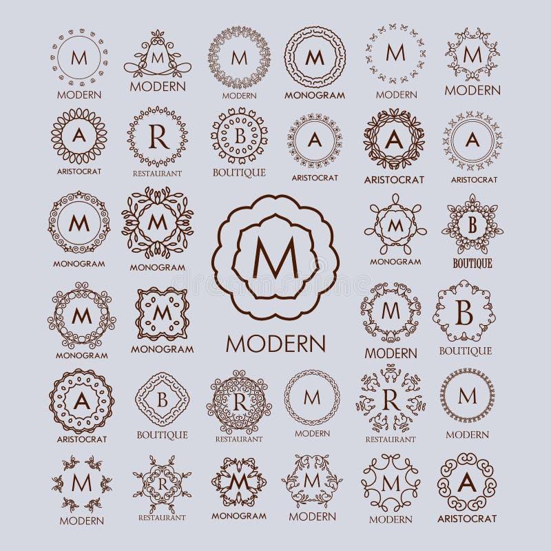 Duża wiązka luksusu, prostych i eleganckich monograma projekta szablony, ilustracji