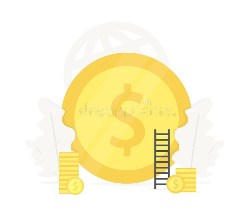 Duża złocistej monety ilustracja Inwestycja w początkowych biznesowych prezentacjach na białym tle Prognozy waluty tempo ilustracji